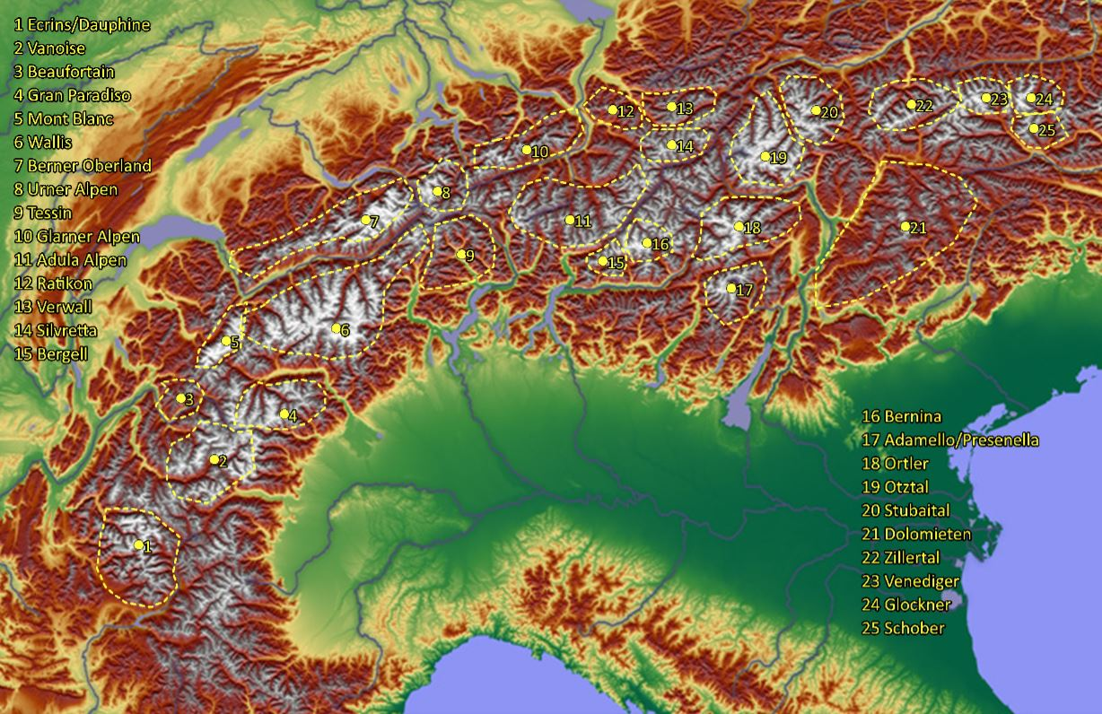 Map of the alps / kaart van de alpen